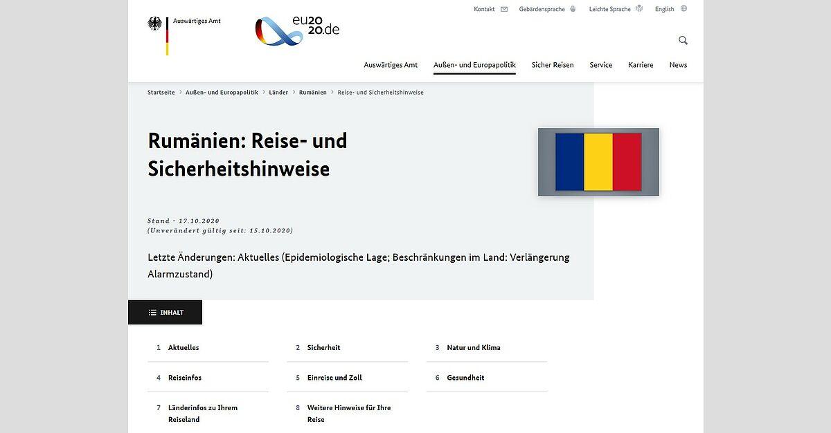Rumänien Risikogebiet